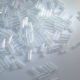 8mm Glass Bugle Beads. Crystal AB.